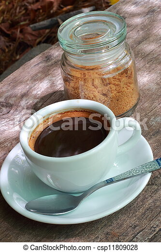 Coffee cup and white sugar - csp11809028