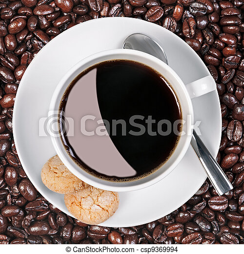 Coffee cup biscuits and beans. - csp9369994