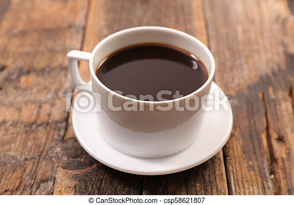 coffee cup on wood background - csp58621807