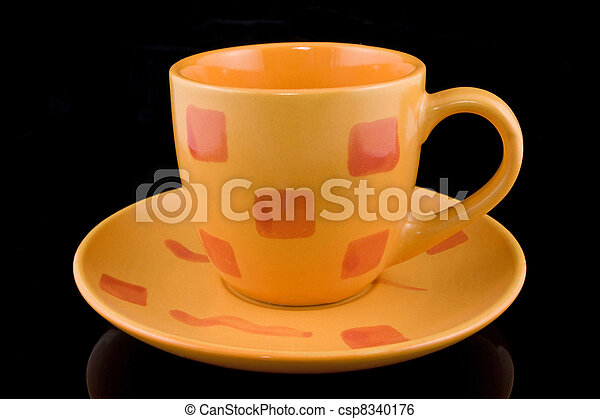 coffee cup over a black background - csp8340176