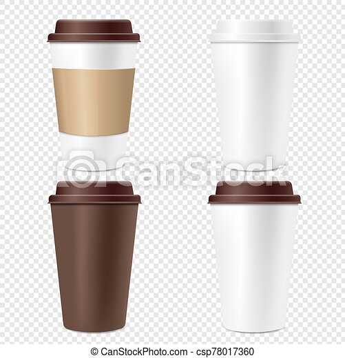 Coffee Cup Set Isolated Transparent Background - csp78017360