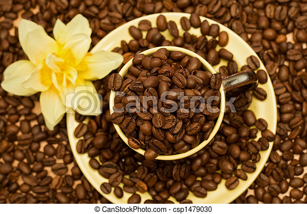 Coffee cup with beans - top view - csp1479030