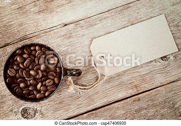 Coffee cup with blank price tag - csp47406930