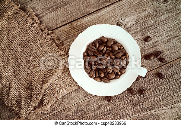 Coffee cup with burlap sack - csp40233966