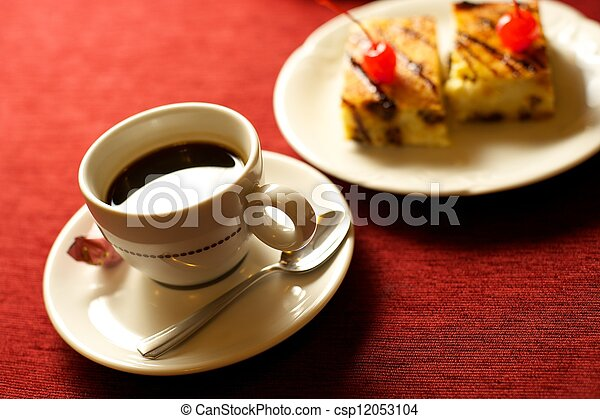 coffee cup with cakes - csp12053104