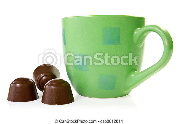 coffee cup with chocolate pralines - csp8612814