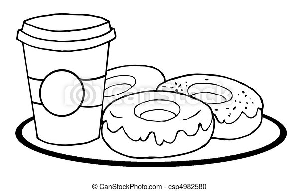 Vector Clipart of Coffee Cup With Donuts Coloring Page Outline