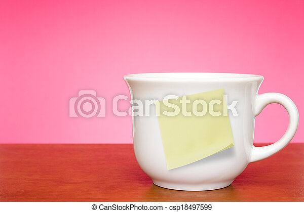 Coffee cup with empty sticky note - csp18497599