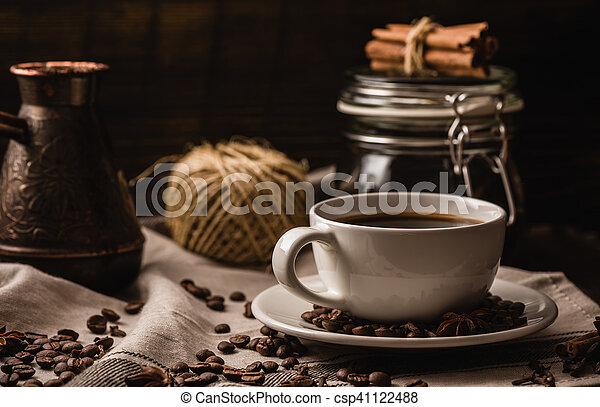 Coffee cup with igredients, beans and equipment - csp41122488