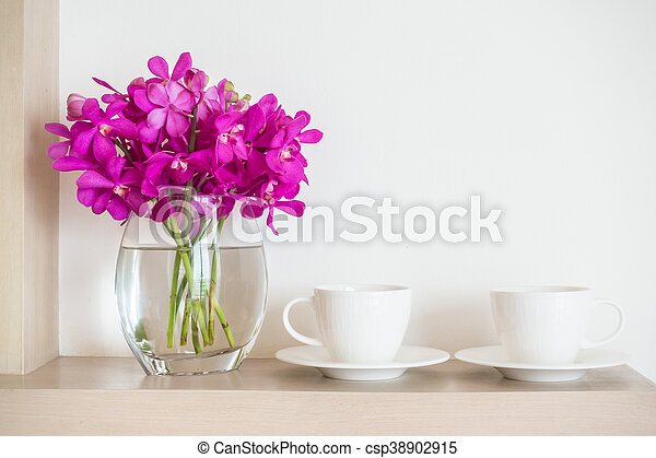 Coffee Cup With Orchid Flower Vase White Coffee Cup With Orchid