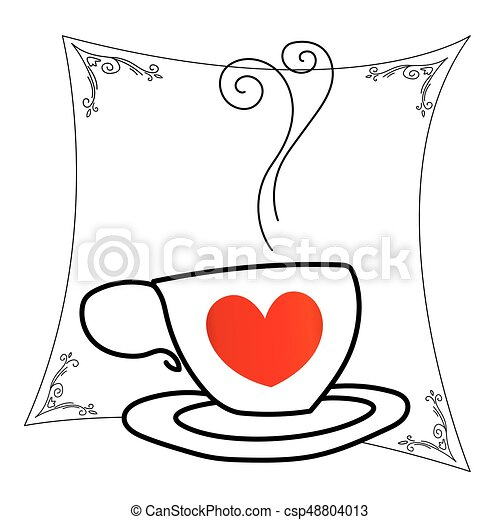 Coffee Cup With Red Heart Outline Drawing Isolated On White