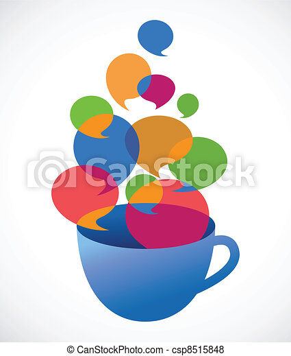 coffee cup with speech bubbles - csp8515848