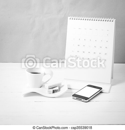 coffee cup with wafer, phone, calendar black and white color - csp35539018