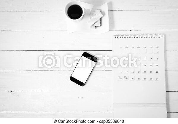 coffee cup with wafer, phone, calendar black and white color - csp35539040
