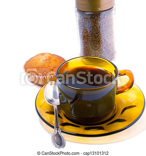 coffee cups and cakes on a white background - csp13101312
