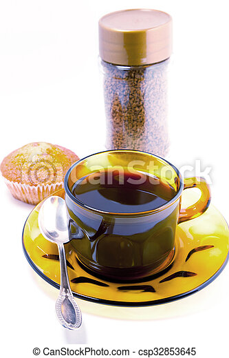 coffee cups and cakes on a white background - csp32853645