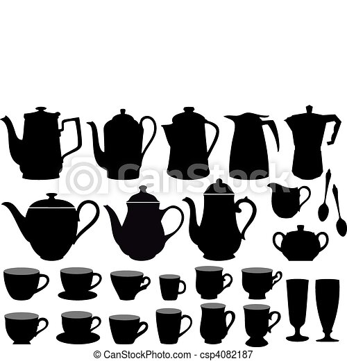 coffee cups and pots, vector - csp4082187