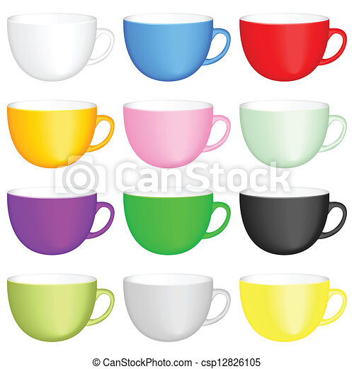coffee cups set color coffee cups on white background vector