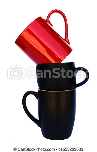 Coffee cups stack on white backgrounds include clipping path - csp53203633