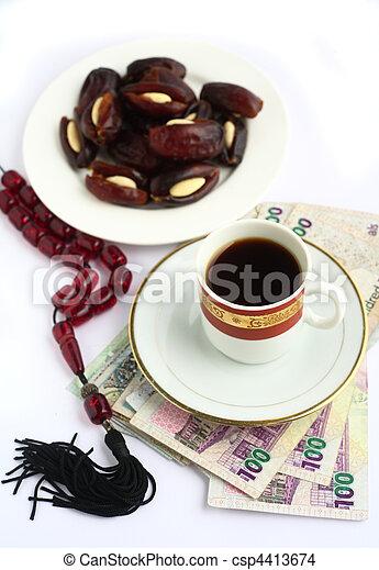 Coffee dates worry beads arab money - csp4413674