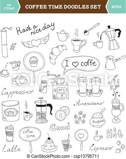Coffee doodles vector elements. Set of hand drawn vector ...