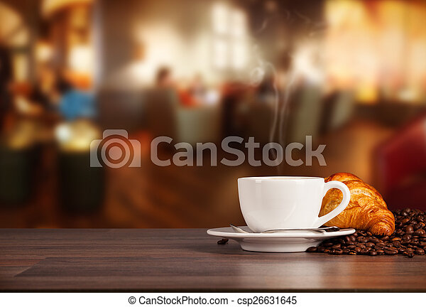 Coffee drink in cafeteria - csp26631645