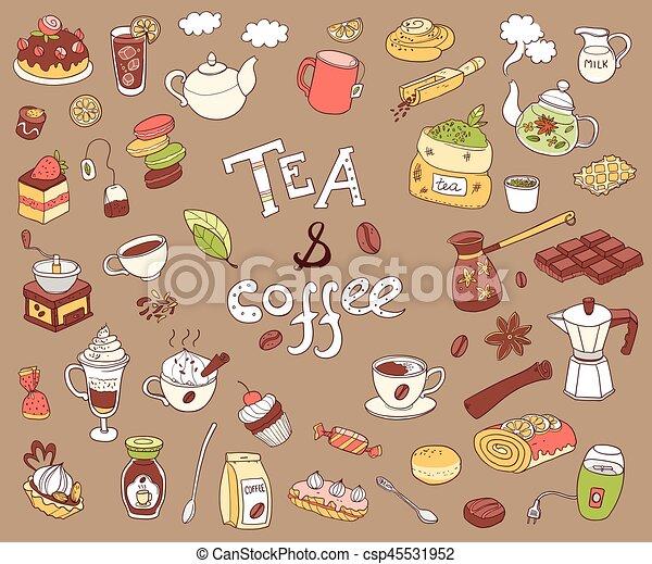 Gran colección de vectores de doodle tae y café. Equipamiento y des - csp45531952