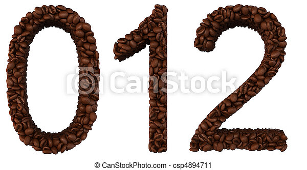 Coffee font 0 1 2 numerals isolated - csp4894711