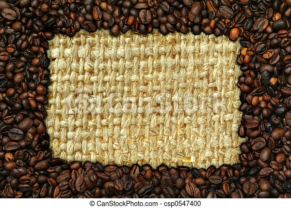 coffee frame with burlap copy space - csp0547400