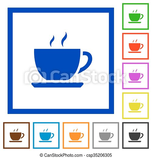 Coffee framed flat icons. Set of color square framed coffee flat ...