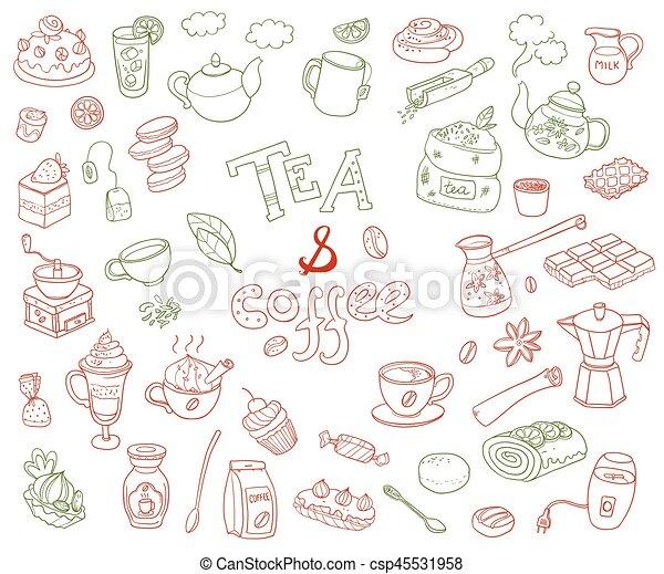 Gran colección de vectores de doodle tae y café. Equipamiento de - csp45531958