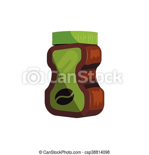 Coffee glass jar package icon, cartoon style - csp38814098