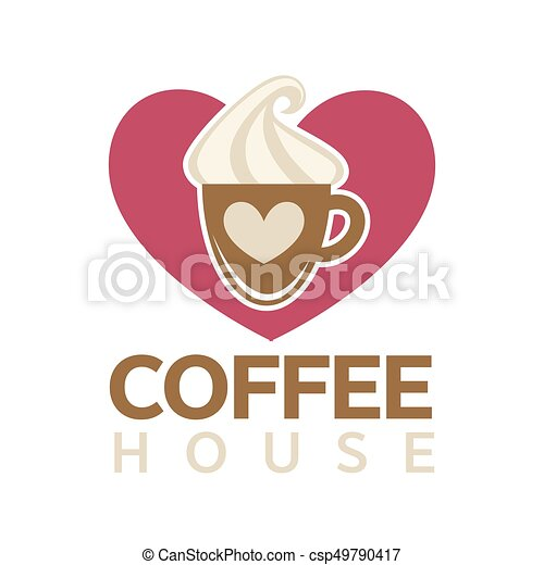 Coffee house emblem with cup of hot drink - csp49790417