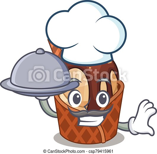 coffee ice cream as a chef cartoon character with food on tray - csp79415961