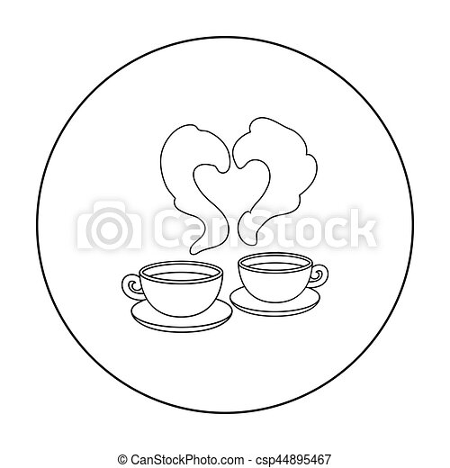 Coffee Icon In Outline Style Isolated On White Background Romantic Symbol Stock Vector