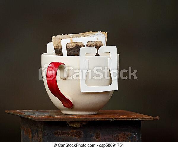 coffee., kopp, droppa - csp58891751