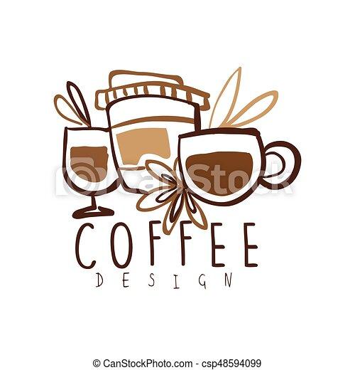 coffee label design hand drawn vector illustration logo template