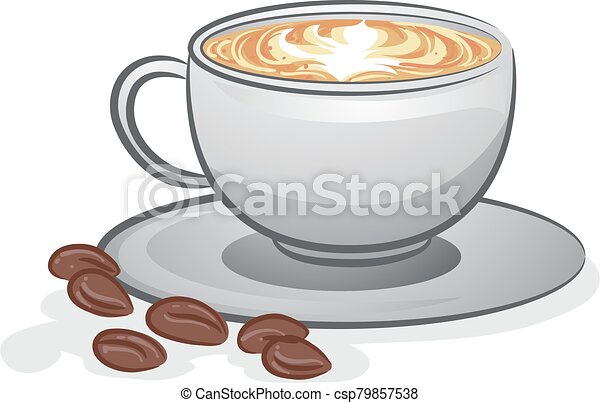 Coffee Latte Hot Illustration Illustration Of A Cup Of Cafe Latte And Coffee Beans Canstock