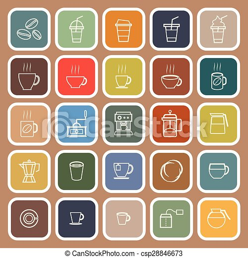 Coffee line flat icons on brown background - csp28846673