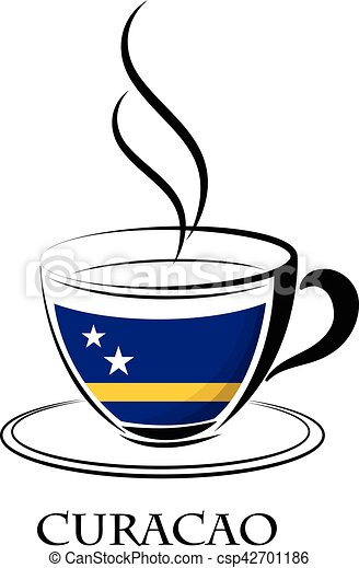 coffee logo made from the flag of Curacao - csp42701186