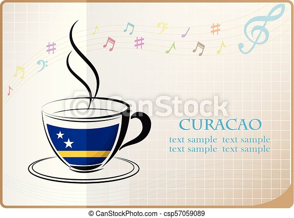 coffee logo made from the flag of Curacao - csp57059089