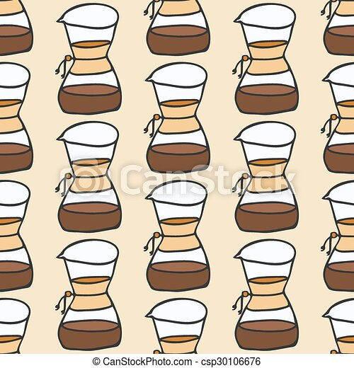 Coffee maker.  Seamless pattern with doodle drip or chemex. Hand-drawn background. Vector illustration. - csp30106676