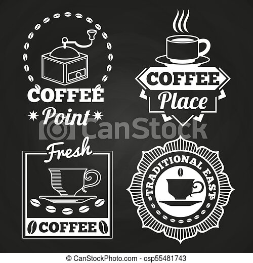 Coffee market shop and cafe label collection on chalkboard - csp55481743
