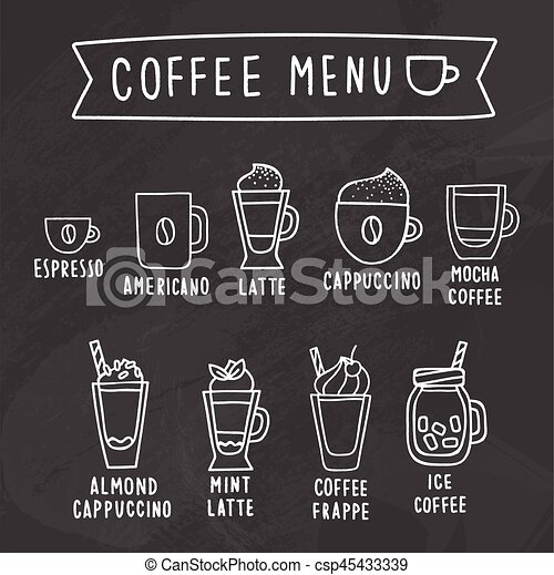 Coffee Menu Chalk Drawing On A Blackboard Vector Hand  Vectors