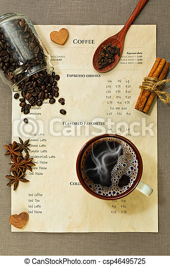 Coffee menu, cup with espressoo coffee, spices and other ingredients on the rude tablecloth - csp46495725
