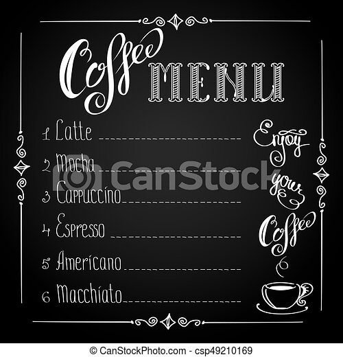 Coffee Menu On Black Background Vector Illustration Clip Art Vector