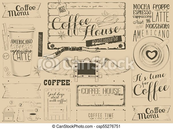 Coffee Menu Placemat Design Template For Coffee Shop Restaurant