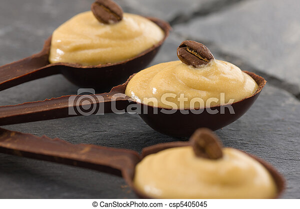 coffee mousse in a dark chocolate spoon - csp5405045