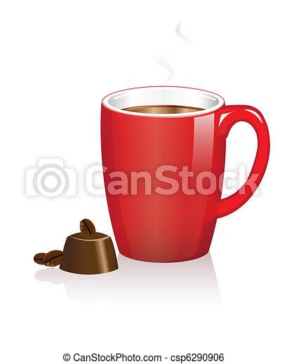 Coffee mug and chocolates - csp6290906
