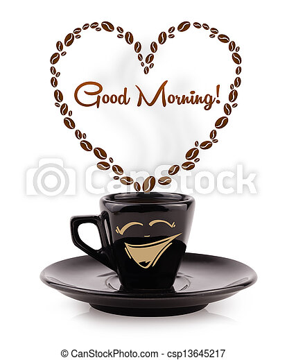 Coffee mug with coffee beans shaped heart with good morning sign, isolated on white - csp13645217